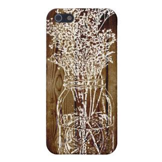 Mason Jar Stamp on Dark Wood Plank iPhone SE/5/5s Cover