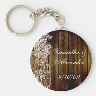 Mason Jar Stamp on Dark Wood Plank Keychain