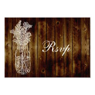 Mason Jar Stamp RSVP on Dark Wood Plank Card