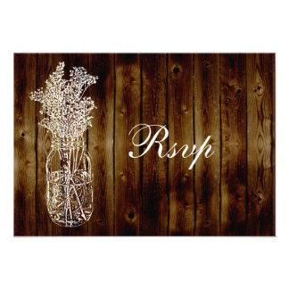 Mason Jar Stamp RSVP on Dark Wood Plank Invite