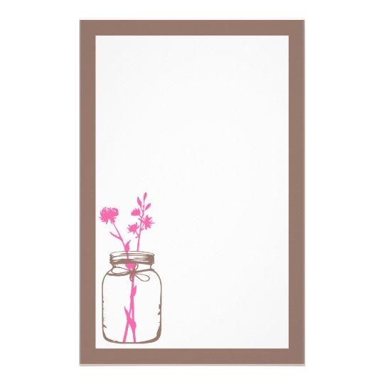 Mason Jar Stationery (pink)
