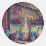 mason jar still life round stickers