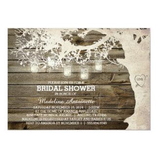 Mason Jar String Light Bridal Shower Barn Wood 5x7 Paper Invitation Card