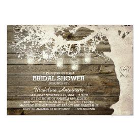 Mason Jar String Light Bridal Shower Barn Wood Card