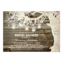 Mason Jar String Light Bridal Shower Barn Wood Invitation