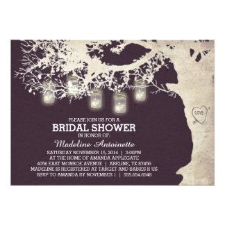 Mason Jar String Light Bridal Shower Plum Announcements