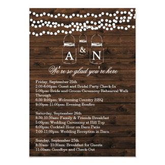 "Mason Jar String Light WEEKEND ITINERARY Card 5"" X 7"" Invitation Card"