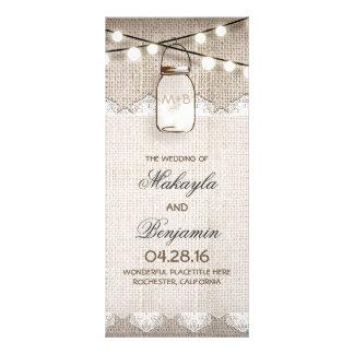 Mason Jar String Lights Burlap Wedding Programs