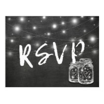 Mason Jar & String Lights Chalkboard Wedding RSVP Postcard