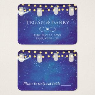 Mason Jar String Lights Night Wedding Place Cards