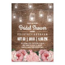 Mason Jar String Lights Pink Rose Bridal Shower Invitations