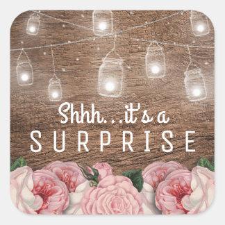 Mason Jar String Lights Pink Rose Surprise Party Square Sticker