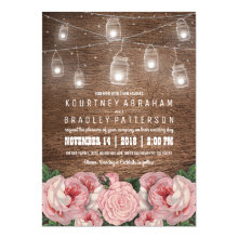 Mason Jar String Lights Pink Rose Wedding | Rustic Invitations