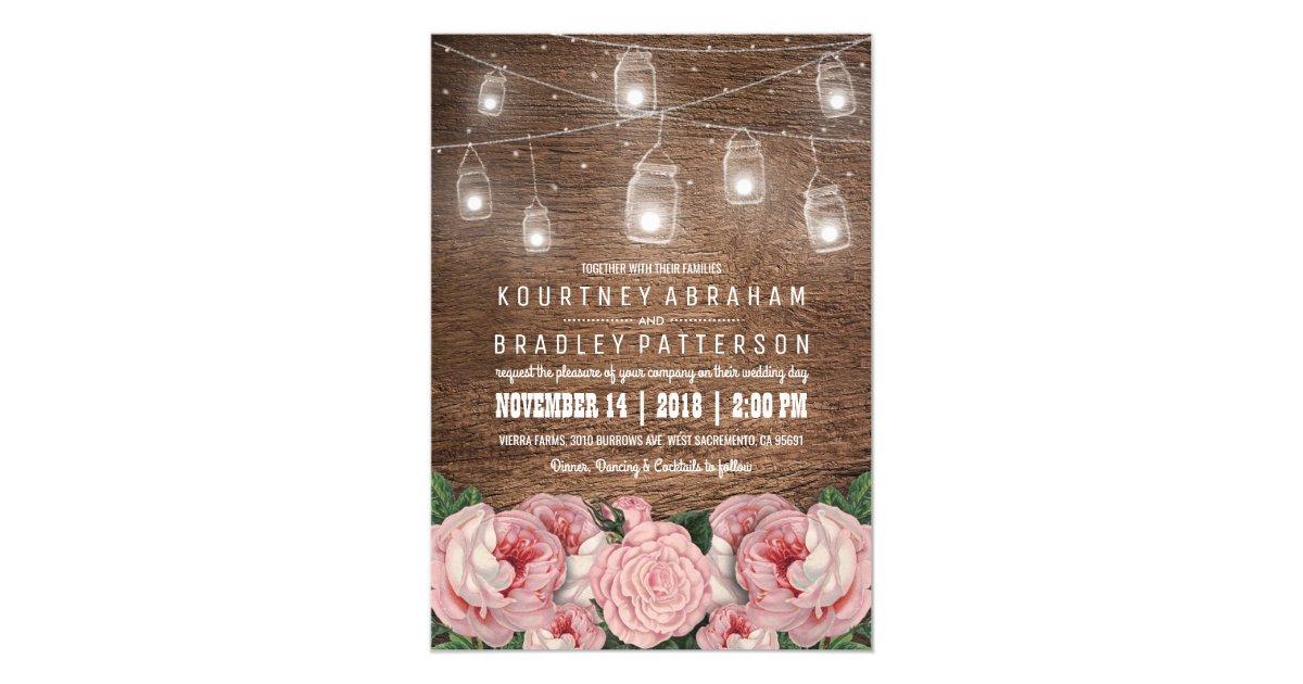 Mason Jar String Lights Pink Rose Wedding Rustic Card Zazzle