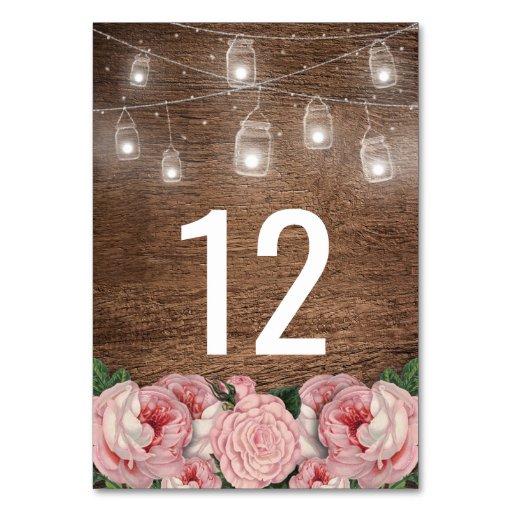 Mason Jar String Lights Pink Rose Wedding Table Card Zazzle
