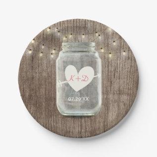 Mason Jar & String Lights Rustic Barn Wood Wedding Paper Plate at Zazzle