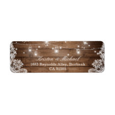 Mason Jar String Lights Rustic Country Wood Lace Label at Zazzle