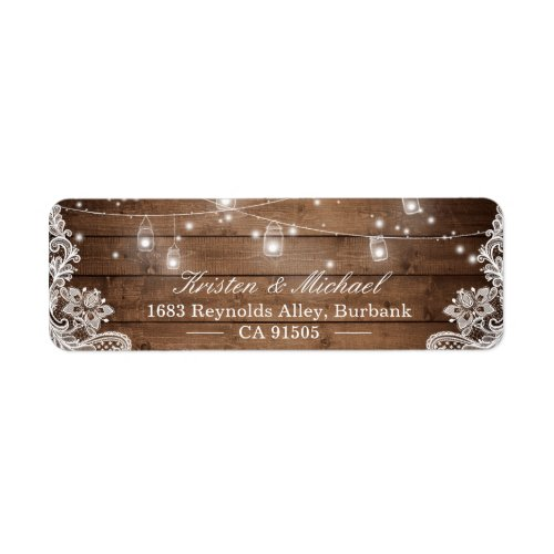 Mason Jar String Lights Rustic Country Wood Lace Label