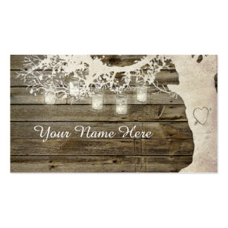 Mason Jar String Lights Rustic Tree Place Card Double-Sided Standard Business Cards (Pack Of 100)