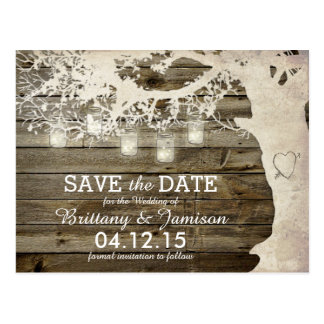 Lights Mason Jar Save Date Postcards | Zazzle