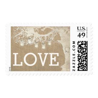Mason Jar String Lights Tree Burlap WeddingPostage Postage