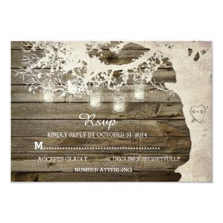 "Mason Jar String Lights Tree Rustic Barn Wood RSVP 3.5"" X 5"" Invitation Card"
