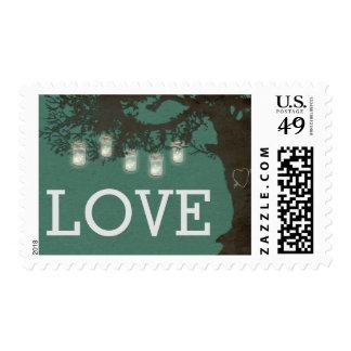 Mason Jar String Lights Tree Teal Wedding Postage Postage Stamp