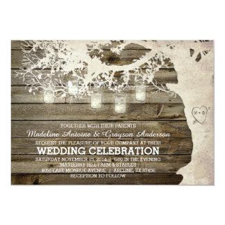 Mason Jar String Lights Tree Vintage Barn Wood 5x7 Paper Invitation Card