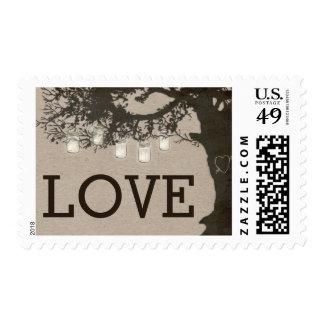 Mason Jar String Lights Tree Wedding Postage Postage Stamp