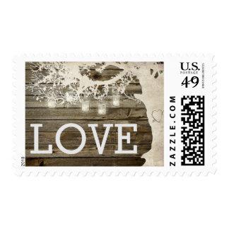Mason Jar String Lights Tree Wood Wedding Postage Postage Stamp