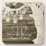 """Mason Jar String Lights Vintage Tree Coasters<br><div class=""""desc"""">These charming coasters feature a vintage tree silhouette with glowing mason jar string lights.  The perfect favor for your guests at your vintage or rustic themed wedding.  Email me for custom background color options at no additional cost.</div>"""