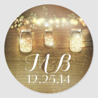 mason jar string lights wedding stickers
