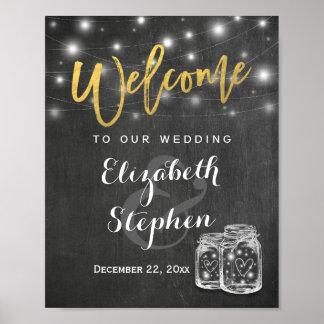 Mason Jar String Lights Wedding Welcome Reception Poster