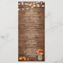 Mason Jar String Lights Wood Fall Wedding Program
