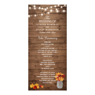 Mason Jar String Lights Wood Fall Wedding Program