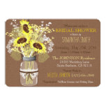 Mason Jar Sunflower Burlap Rustic Bridal Shower Card
