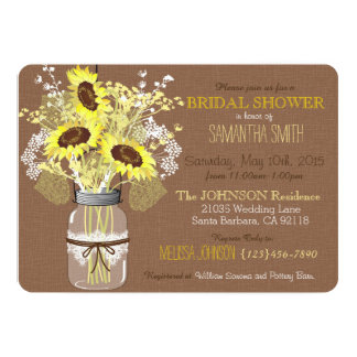 Mason Jar Sunflower Burlap Rustic Bridal Shower 5x7 Paper Invitation Card