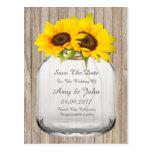 Mason jar sunflower save the date sunflwr6 postcard