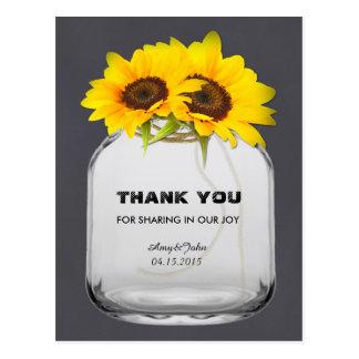 Mason jar sunflower thank you note sunflwr7 postcard
