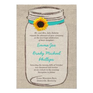 "Mason Jar & Sunflower Wedding Invitation 5"" X 7"" Invitation Card"