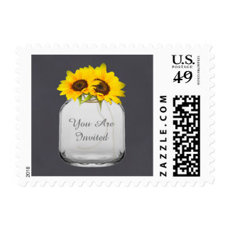 Mason jar sunflower wedding postage stamp sunflwr7