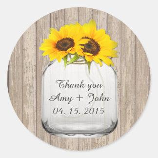 Mason jar sunflower wedding tags sunflwr6