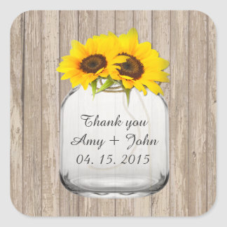 Mason jar sunflower wedding tags sunflwr6 square stickers