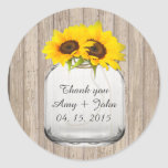 Mason jar sunflower wedding tags sunflwr6 sticker