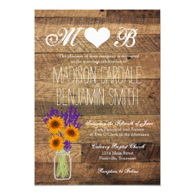 Mason Jar Sunflowers Barn Wood Wedding Invitations