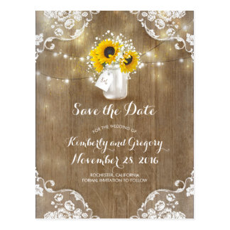 Mason Jar Sunflowers Bouquet Rustic Save the Date Postcard