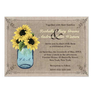 Mason Jar Sunflowers Invitation