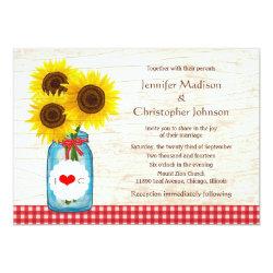 Mason Jar & Sunflowers Rustic Country Wedding Card