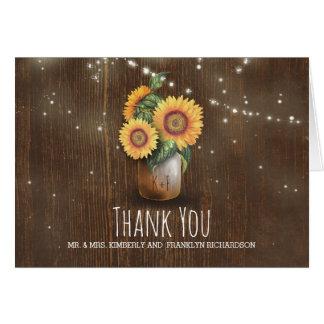 Mason Jar Sunflowers Rustic Wedding Thank You Card
