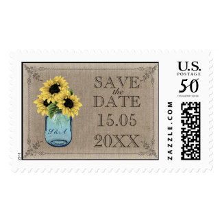 Mason Jar Sunflowers - Save the Date Postage